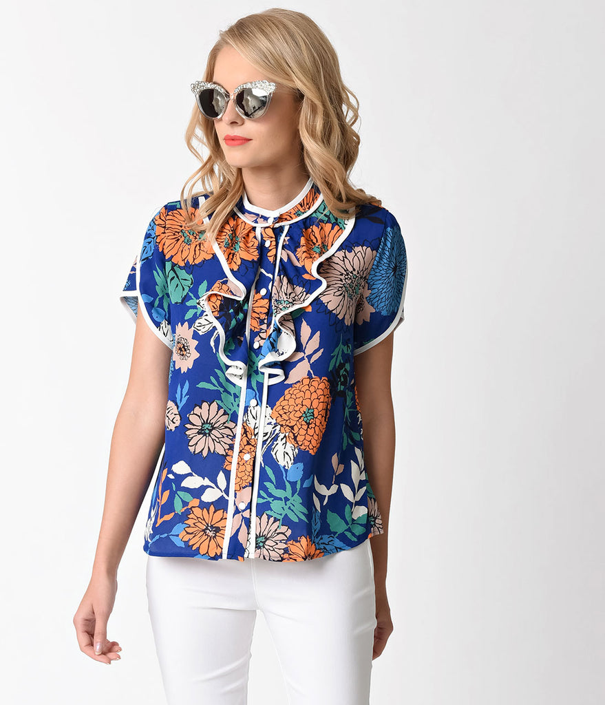 Retro Style Royal Blue & Floral Print Short Sleeve Ruffle Top
