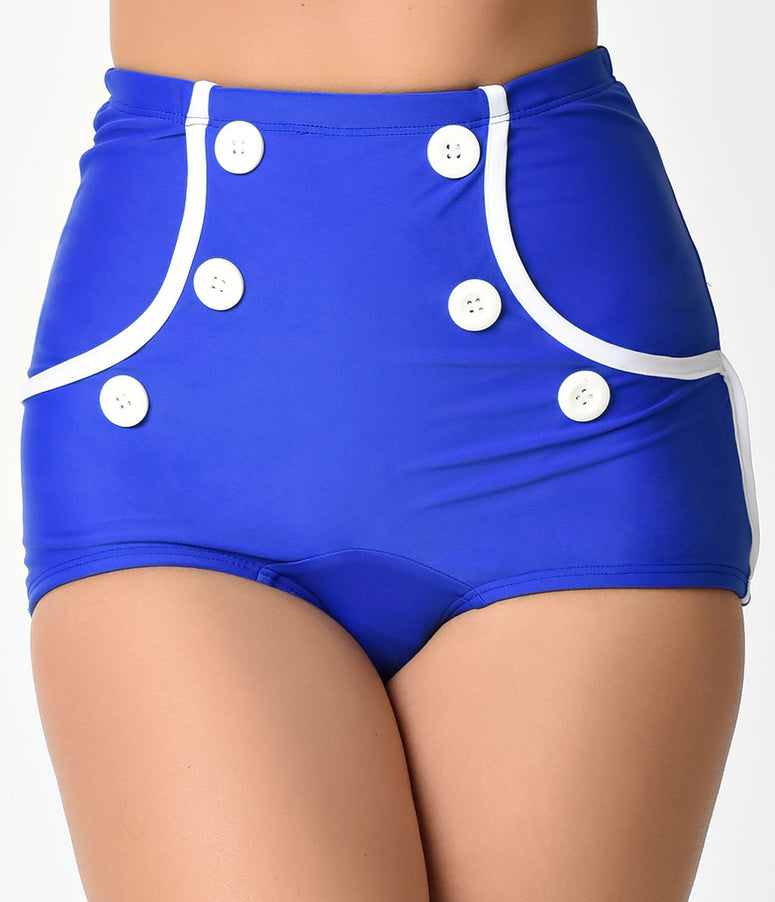 Retro Style Royal Blue & White Button Independence High Waist Swim Bottoms