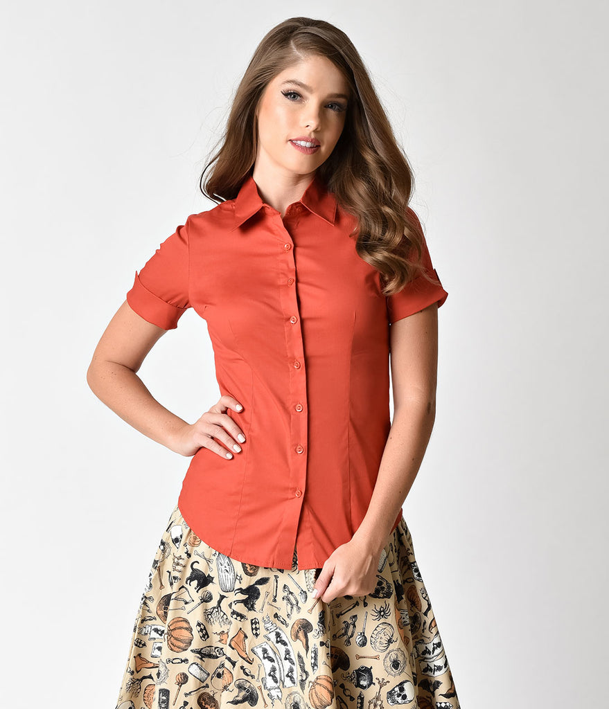 Retro Style Rust Orange Short Sleeve Collared Button Up Blouse