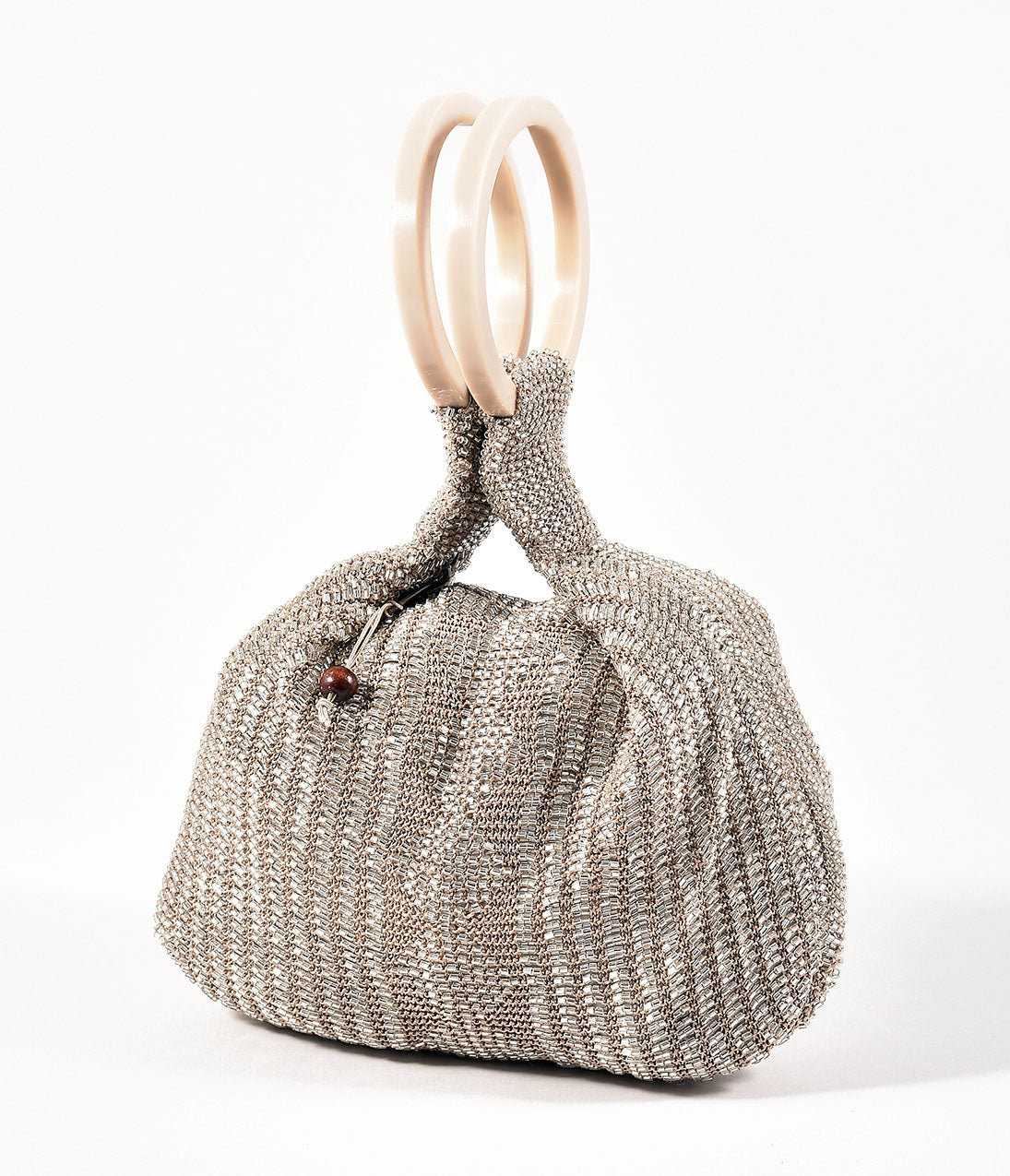 Pretty 1920s Purses and Handbags Retro Style Taupe Silver Beaded Satchel Bag $62.00 AT vintagedancer.com