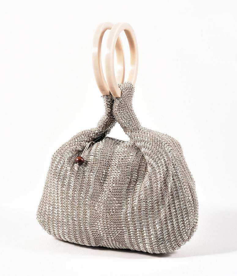 Retro Style Taupe Silver Beaded Satchel Bag