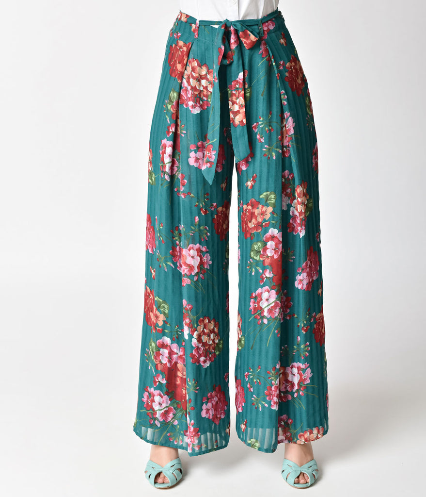 Retro Style Teal & Pink Floral Chiffon Wide Leg Pants