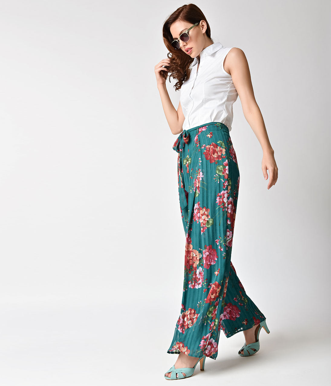Vintage High Waisted Trousers, Sailor Pants, Jeans Retro Style Teal  Pink Floral Chiffon Wide Leg Pants $30.00 AT vintagedancer.com