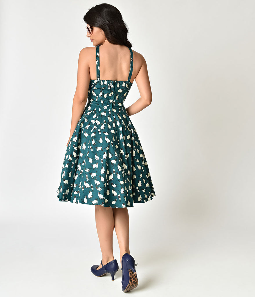 Retro Style Teal & Siamese Cat Print Cotton Swing Dress