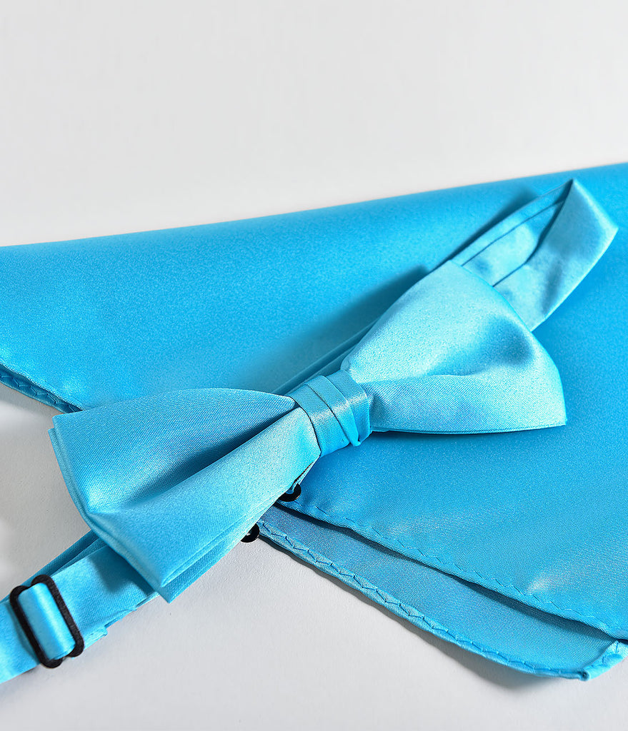 Retro Style Turquoise Bow Tie & Pocket Square