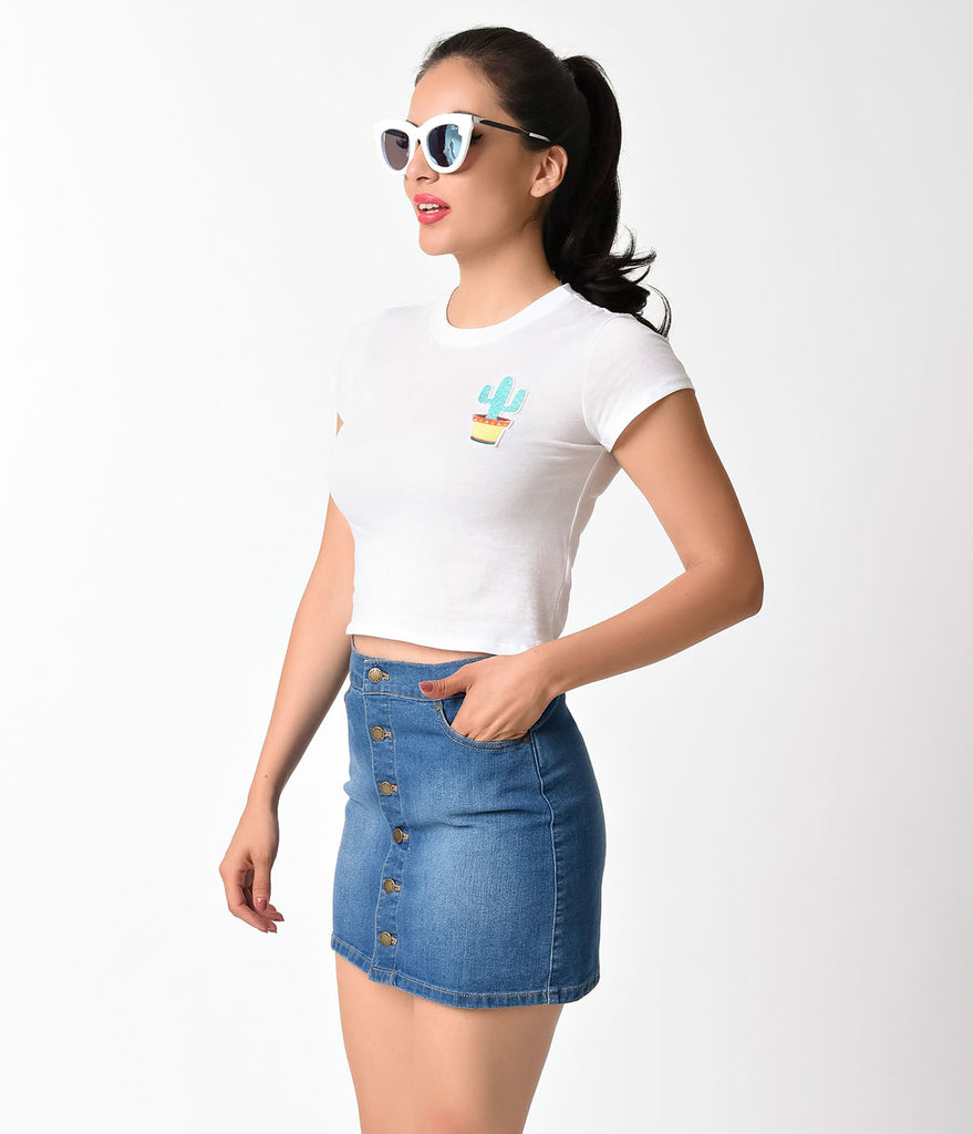 Retro Style White Cactus Short Sleeve Cotton Crop Top