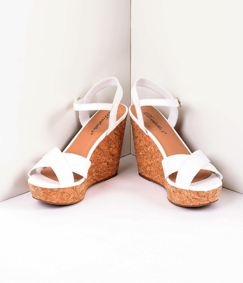 Retro Style White Leatherette Peep Toe Wedge Sandals