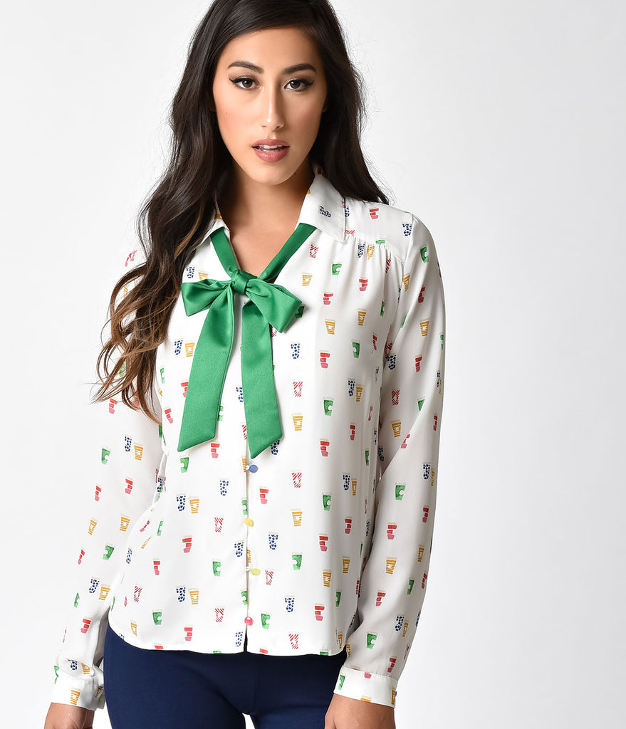 Retro Style White & Multicolor Coffee Cup Print Long Sleeve Blouse