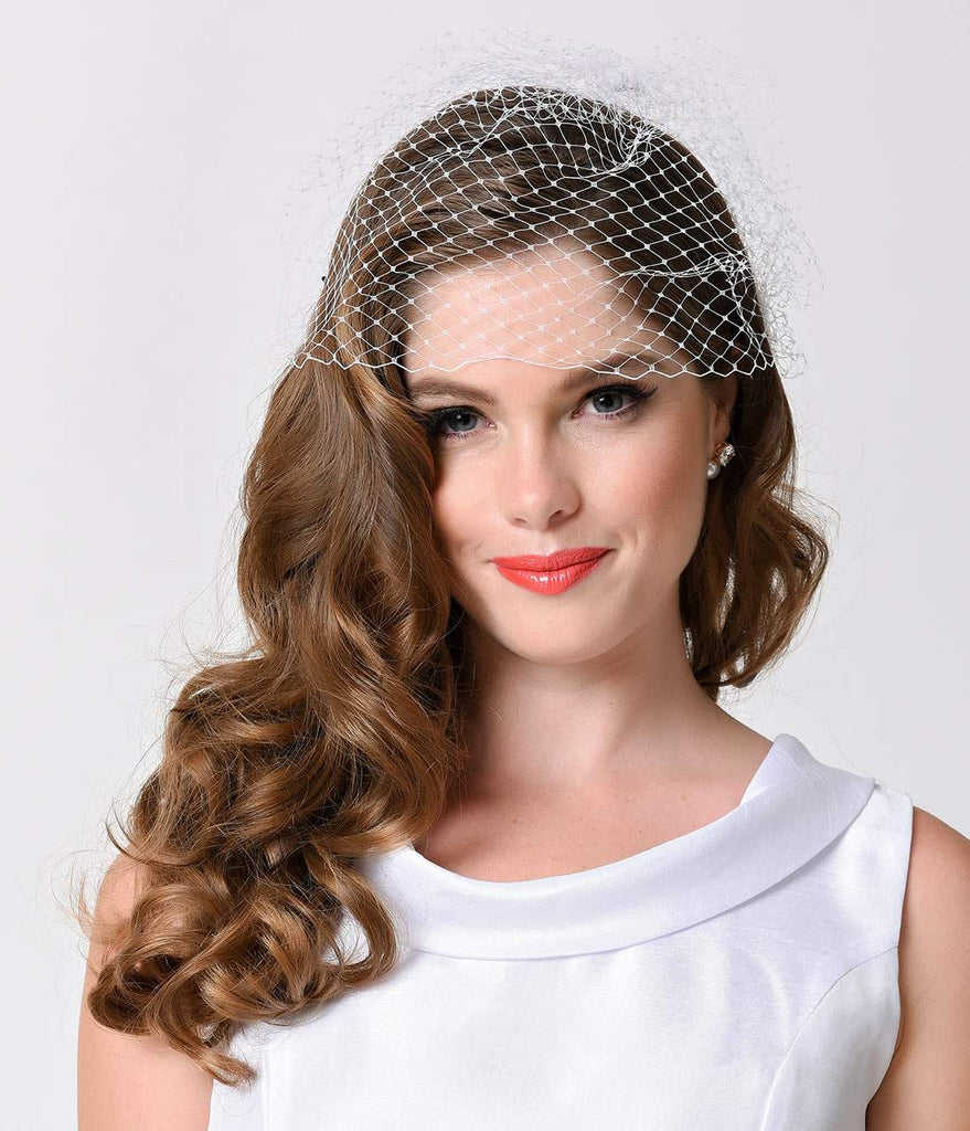 Retro Style White Netted Combless Bridal Veil
