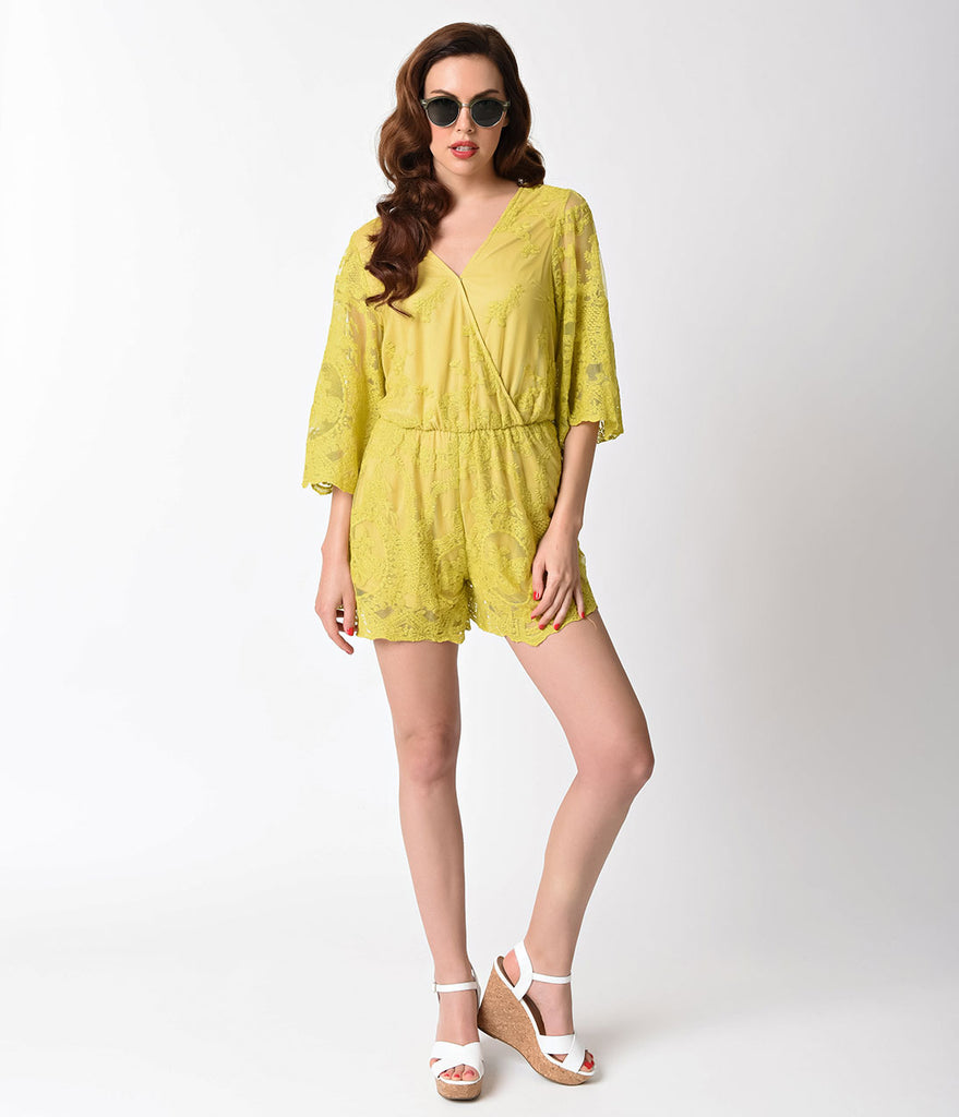 Retro Style Yellow Lace Top Sleeved Short Romper