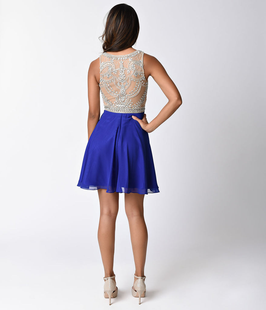 Royal Blue & Nude Sheer Embellished Sleeveless Short Dress