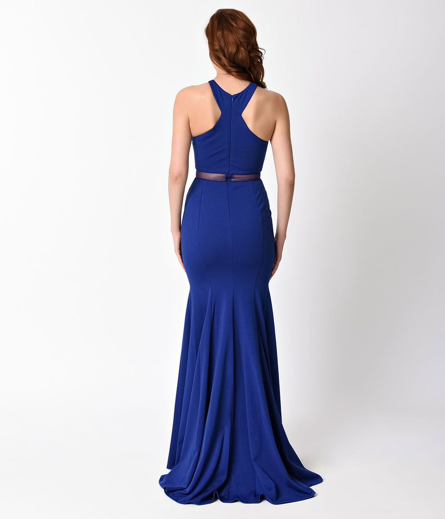 Royal Blue Sexy Mermaid Cut Out Dress