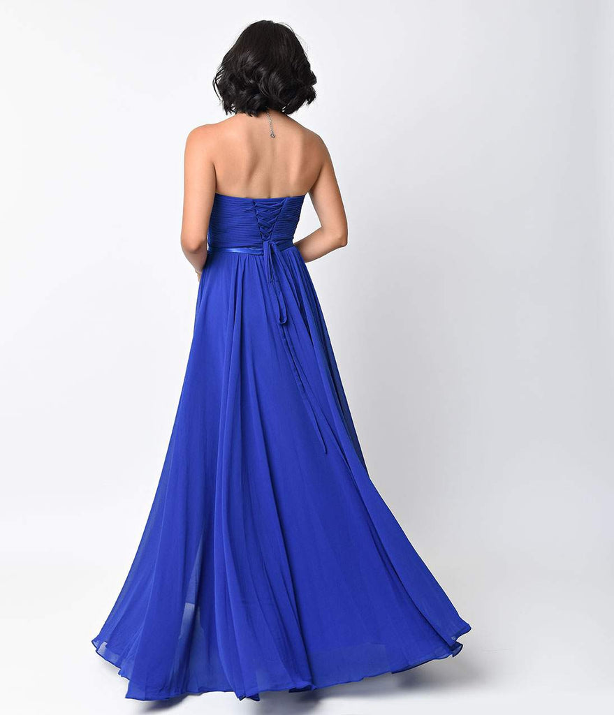 Royal Chiffon Strapless Sweetheart Corset Long Gown