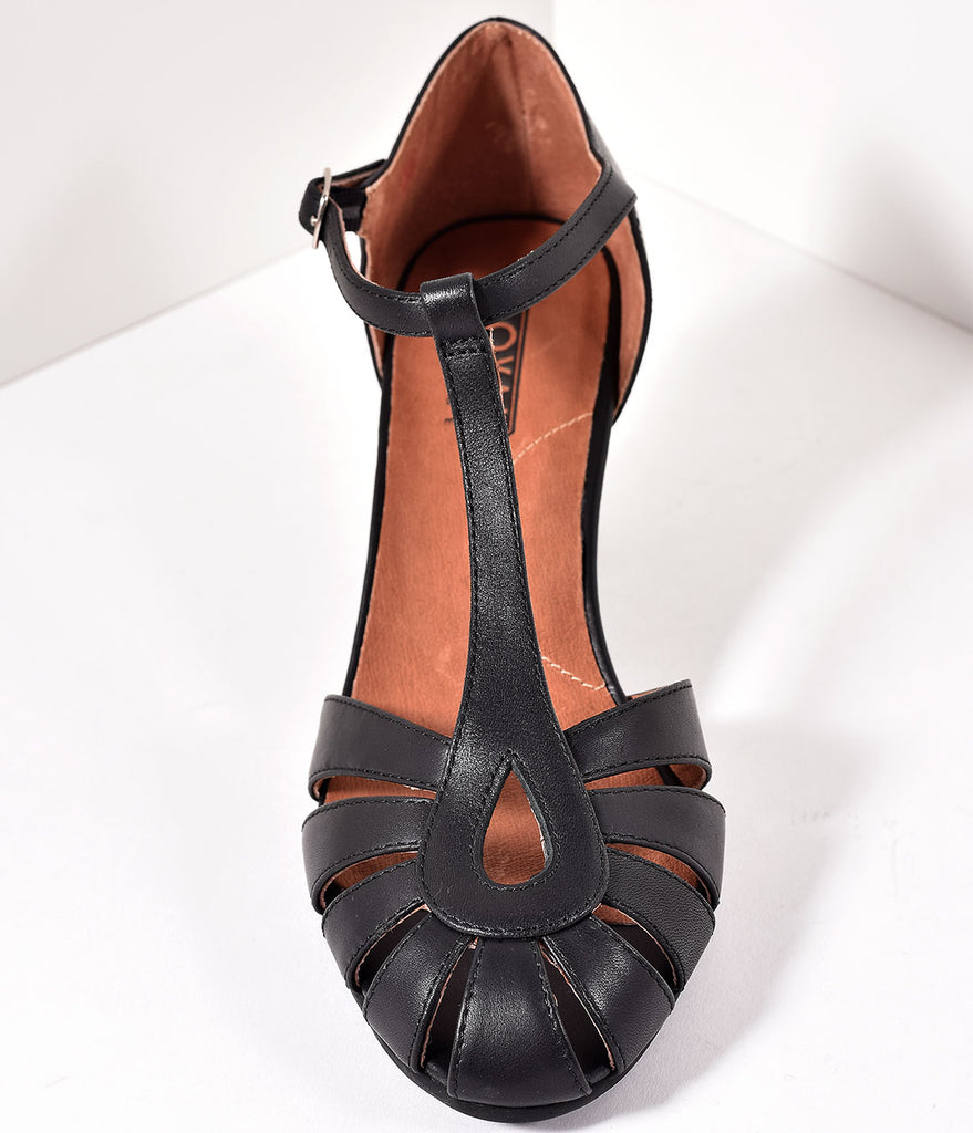 Royal Vintage 1930s Style Black Leather T-Strap Eve Heels
