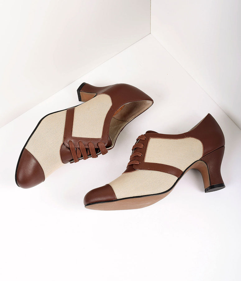 Royal Vintage 1930s Style Brown & Tan Oxford Evelyn Heels