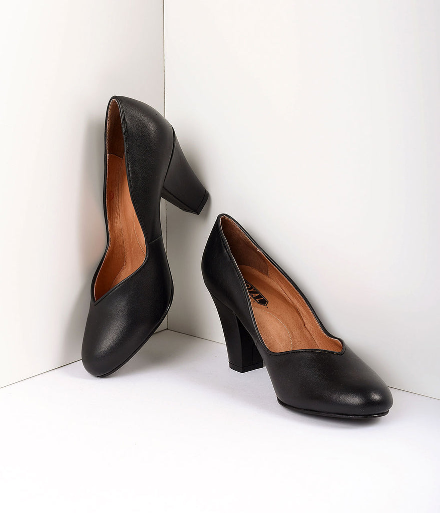Royal Vintage 1940s Style Black Sweetheart Marilyn Pumps