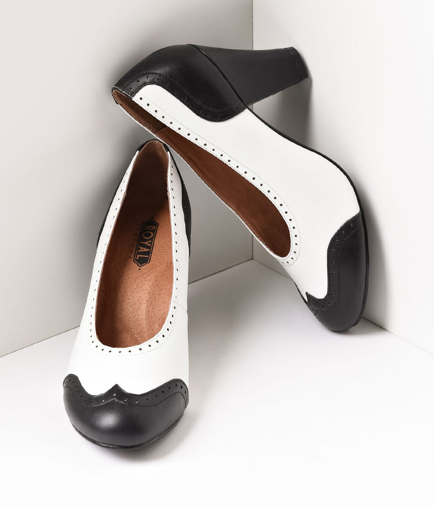 Royal Vintage 1940s Style Black & White Spectator Peggy Pumps