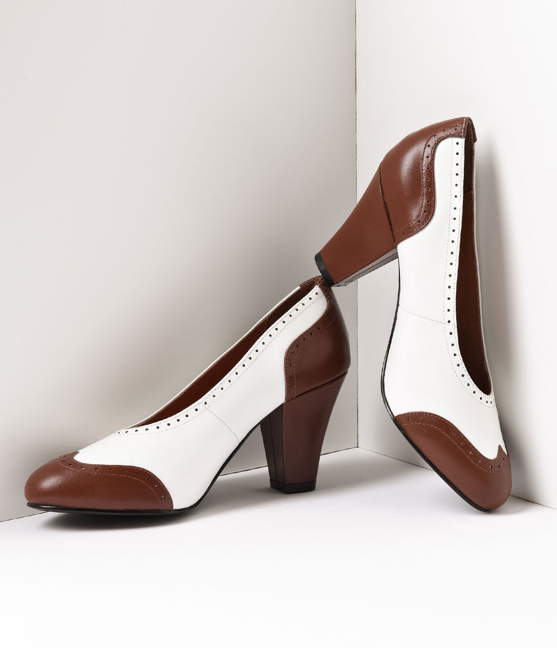 1940s Style Shoes, 40s Shoes Royal Vintage 1940S Style Brown  White Spectator Peggy Pumps $150.00 AT vintagedancer.com