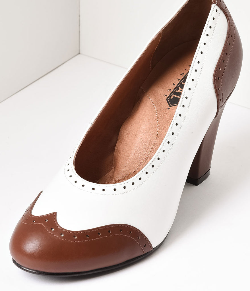Royal Vintage 1940s Style Brown & White Spectator Peggy Pumps