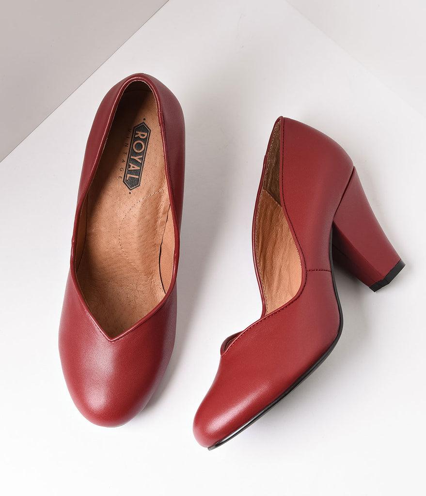 Royal Vintage 1940s Style Burgundy Sweetheart Marilyn Pumps