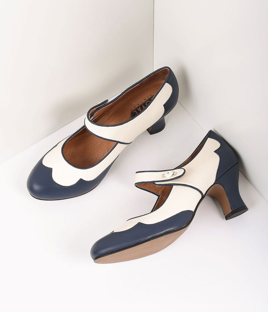 Royal Vintage Retro Style Navy Blue & Ivory Leather Spectator Lillian Heels