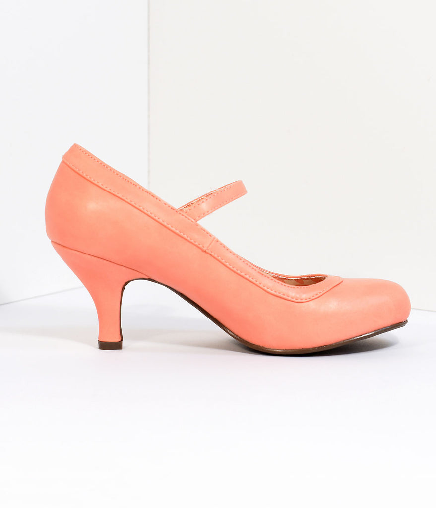 Peach Leatherette Bettie Retro Mary Jane Heels