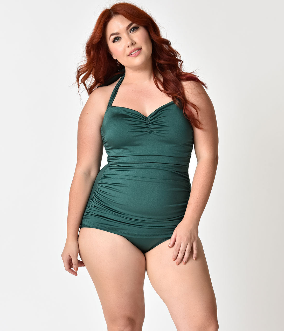 1950s Swimsuits, 50s Bathing Suits, Retro Swimwear Esther Williams Plus Size 1950S Style Pin Up Emerald Green Swimsuit $88.00 AT vintagedancer.com
