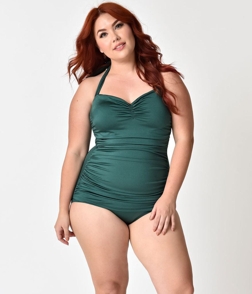 4bb67a2ffc548 Esther Williams Plus Size 1950s Style Pin Up Emerald Green Swimsuit –  Unique Vintage