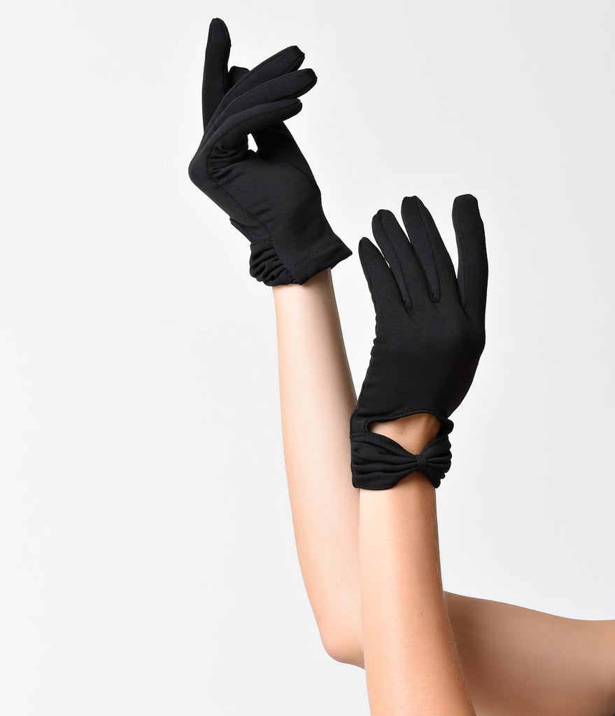 Sure Fit Black Wrist Length Bow Keyhole Gloves
