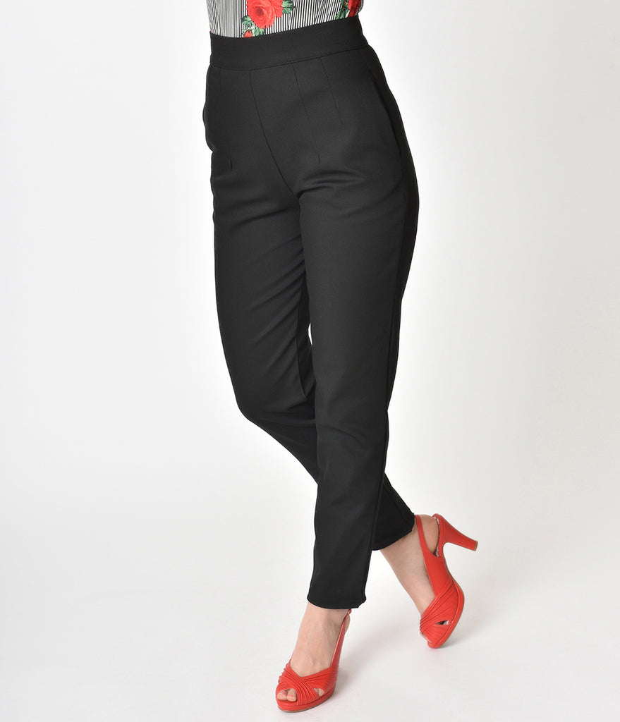 Vixen by Micheline Pitt Black High Waist Cigarette Pants