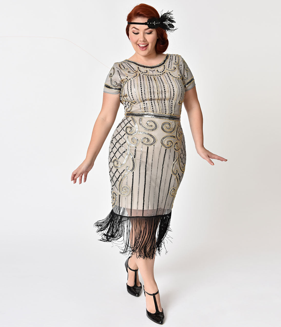 1920s Style Dresses, Flapper Dresses Unique Vintage Plus Size 1920S Beige  Gold Deco Sabine Short Flapper Dress $74.00 AT vintagedancer.com