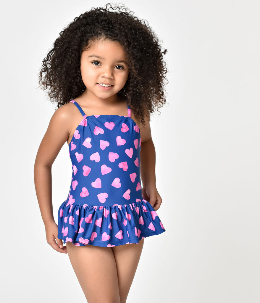 Unique Vintage Kids Navy & Pink Heart Ruffle One Piece Swimsuit