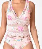 Betsey Johnson Pink & Floral Print Midnight Garden One Piece Swimsuit