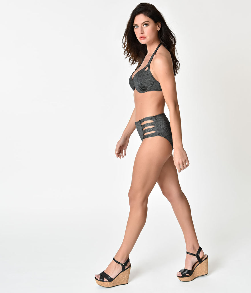 Retro Style Metallic Black High Waisted Cut Out Swim Bottoms