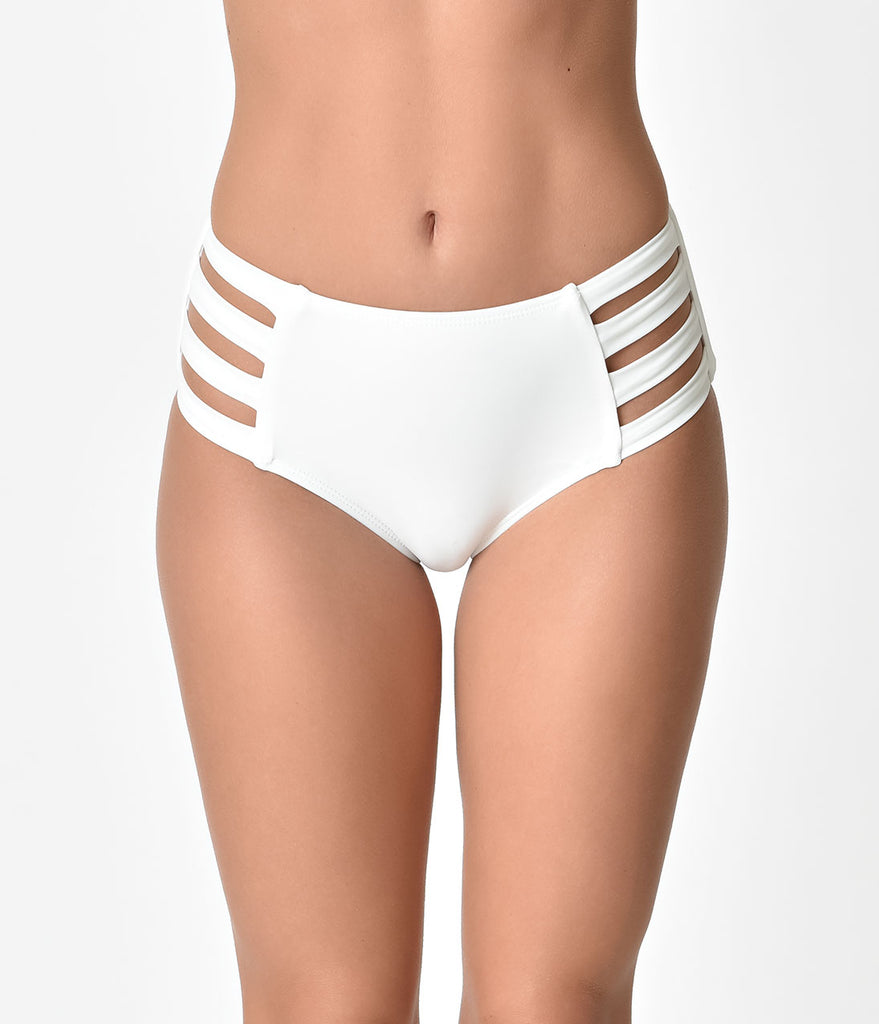 Retro Style White High Waisted Cut Out Swim Bottoms