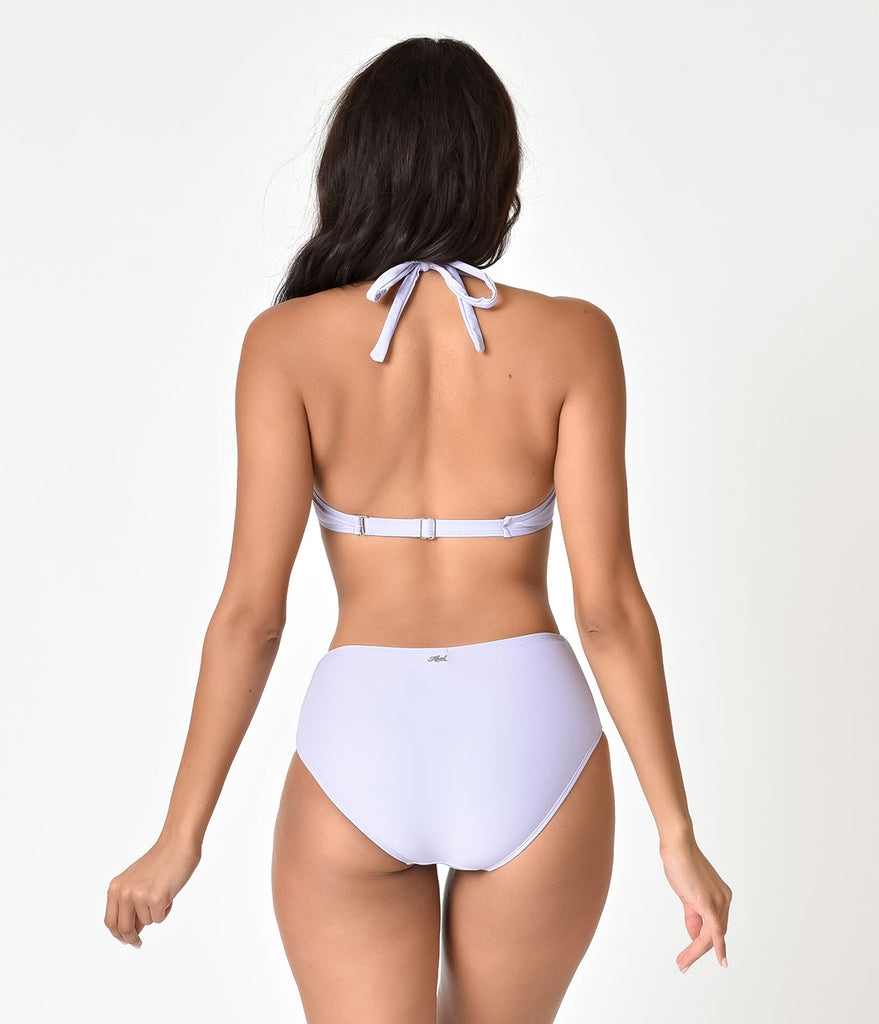 Retro Style Lilac Purple High Waisted Cut Out Swim Bottoms