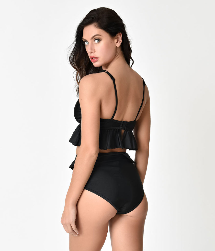 Black Lattice & Ruffle Peplum Swim Top