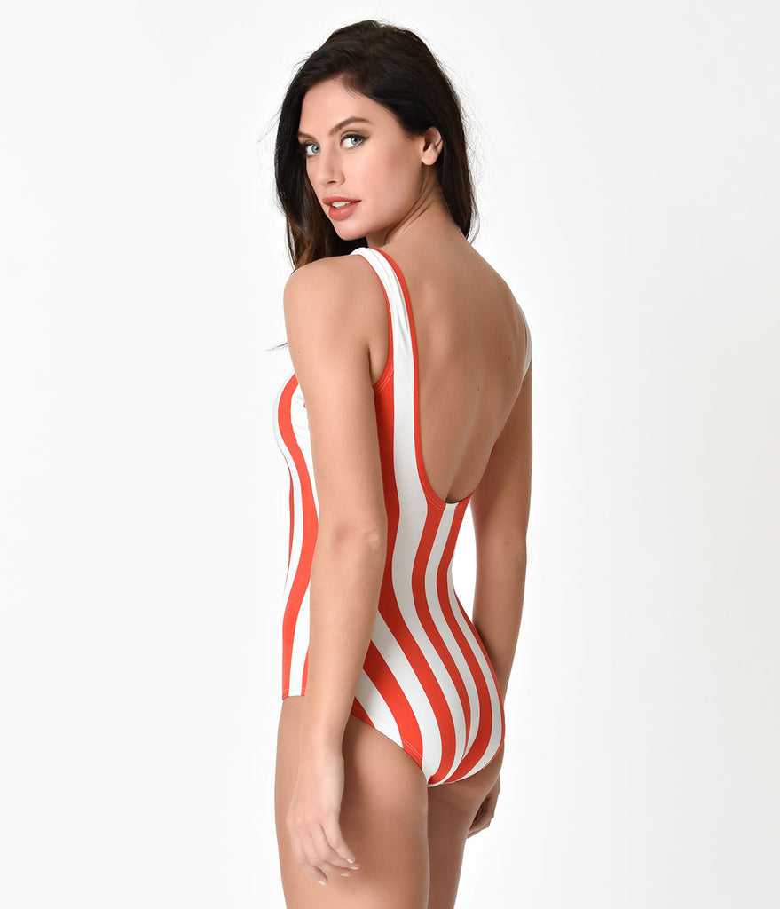 Bettie Page Red & White Striped Americana Style One Piece Tank Bathing Suit