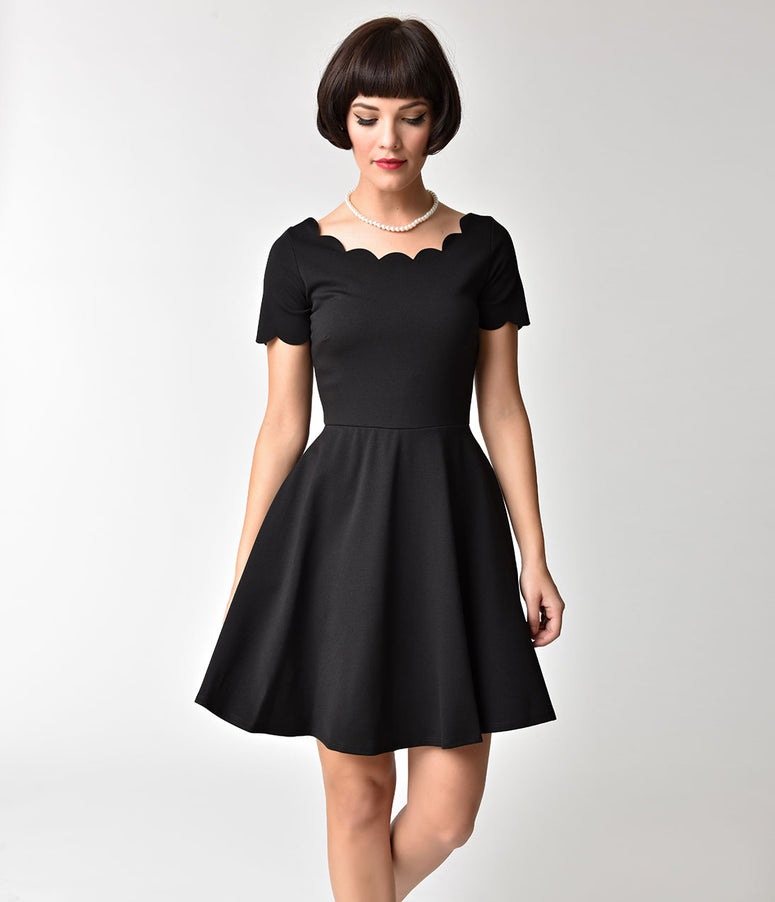 Black Scalloped Short Sleeve Fit & Flare Dress