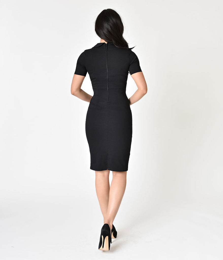 1940s Style Black Tailored Wiggle Dress