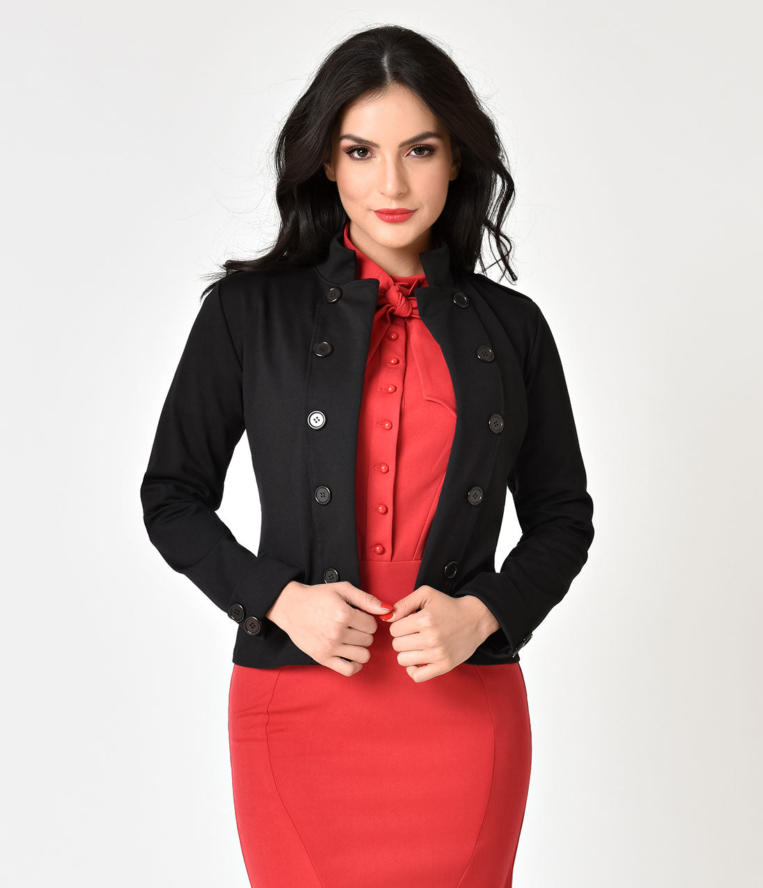 1950s Jackets and Coats | Swing, Pin Up, Rockabilly Vintage Style Black Stand Collar Jacket $68.00 AT vintagedancer.com