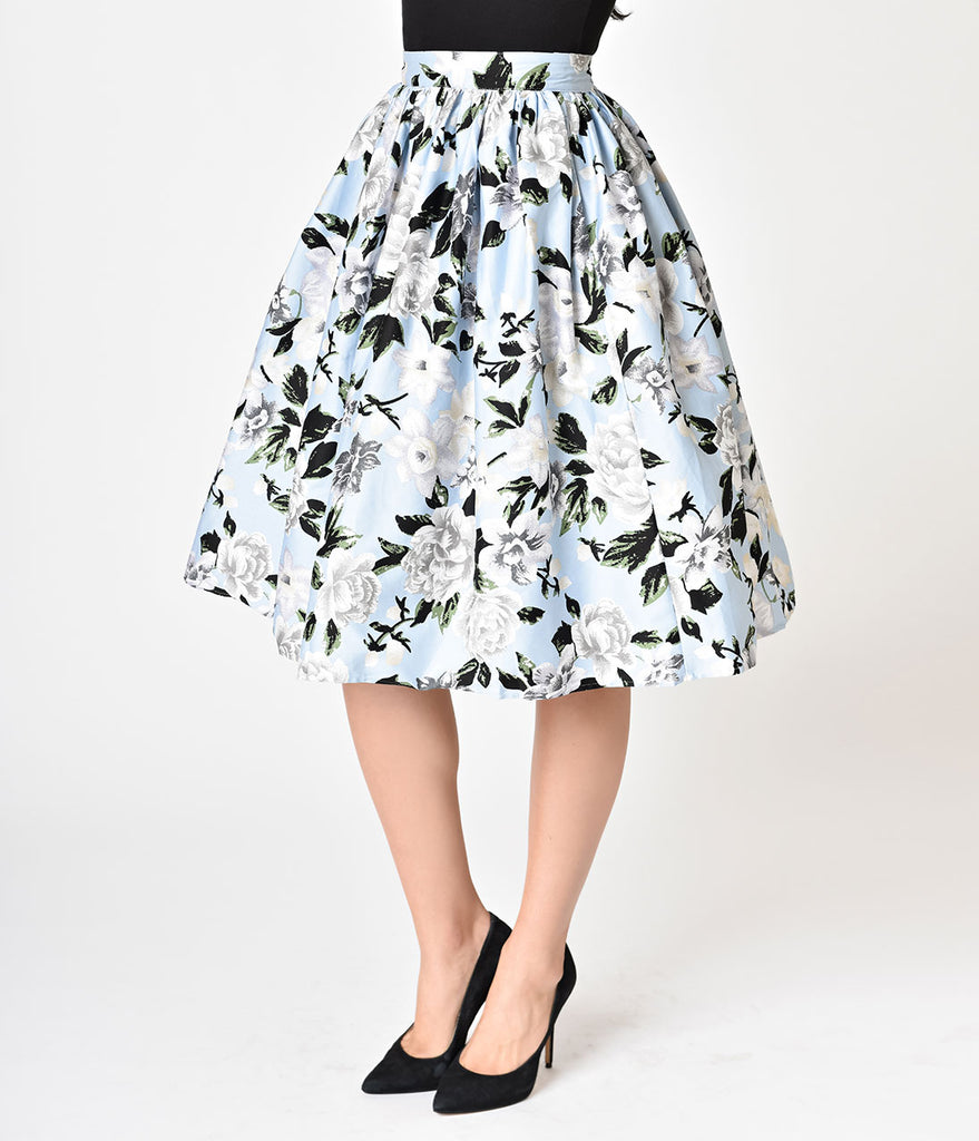 Unique Vintage 1950s Style Light Blue & White Floral High Waist Swing Skirt