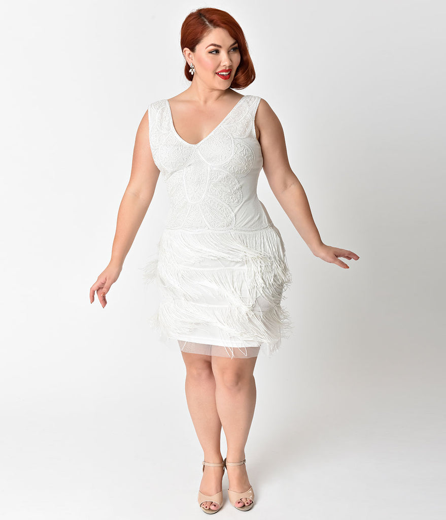Unique Vintage Plus Size 1920s Style White Beaded Tiered Fringe Emile Cocktail Dress