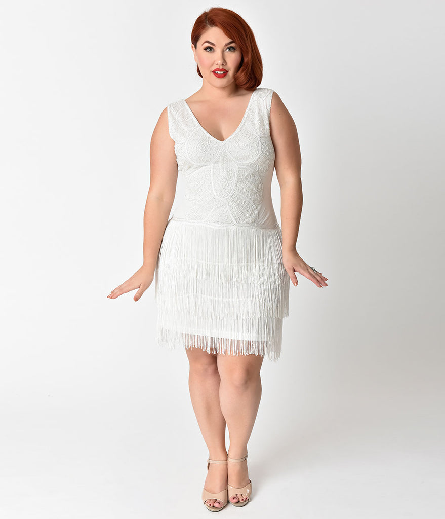 Unique Vintage Plus Size 1920s Style White Beaded Tiered Fringe Emile