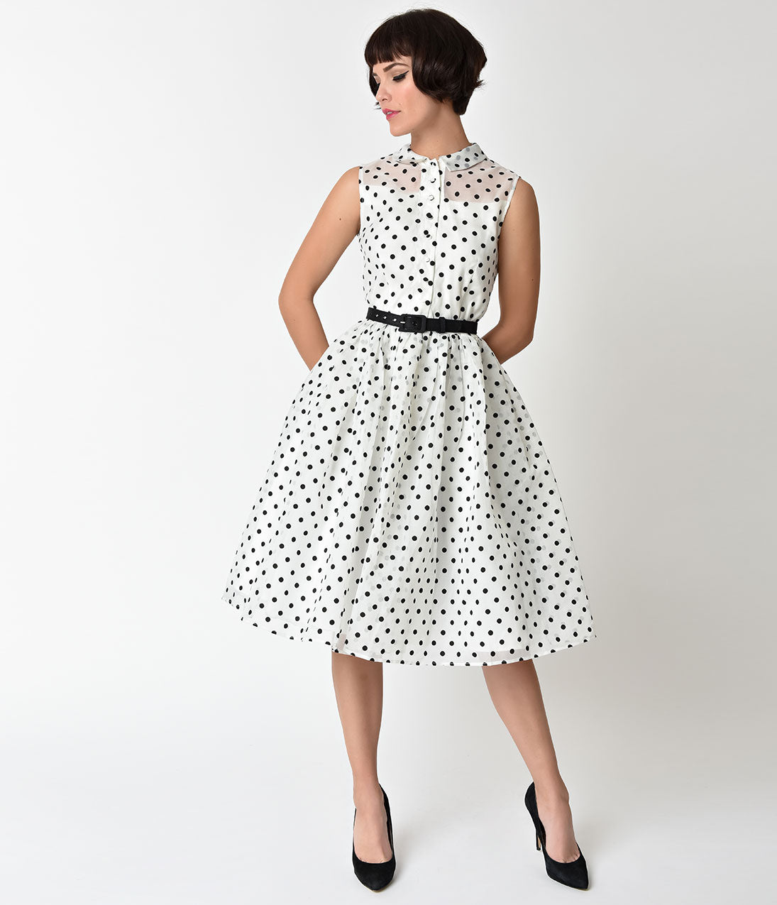 1950s Swing Dresses | 50s Swing Dress Unique Vintage 1950S Style White  Black Dotted Organza Georgia Swing Dress $110.00 AT vintagedancer.com
