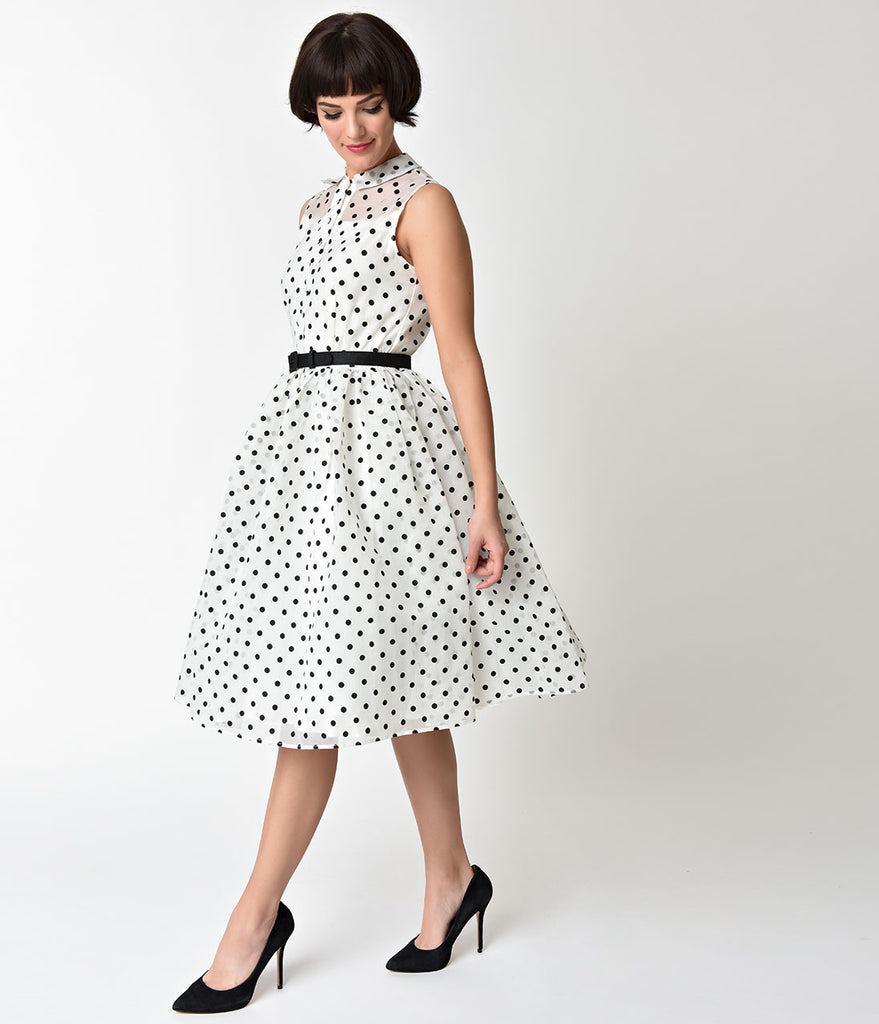 Unique Vintage 1950s Style White & Black Dotted Organza Georgia Swing Dress