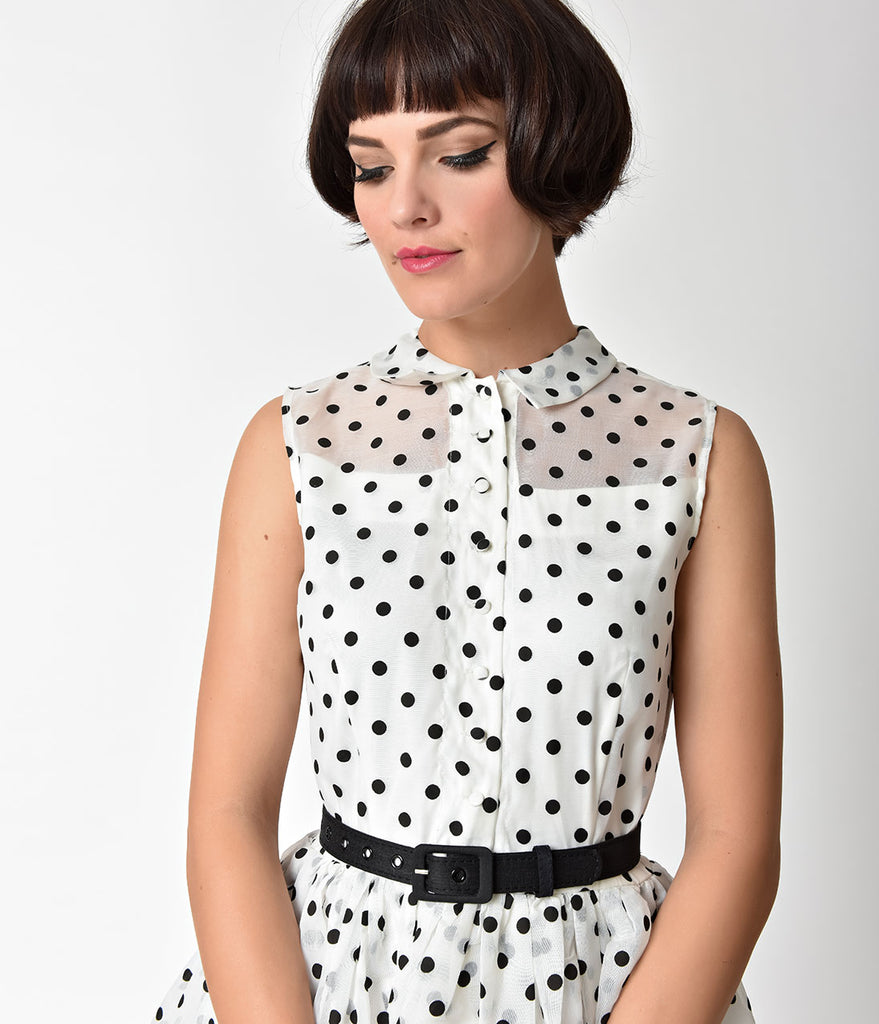 2bf33a53b49 ... Unique Vintage 1950s Style White   Black Dotted Organza Georgia Swing  Dress ...