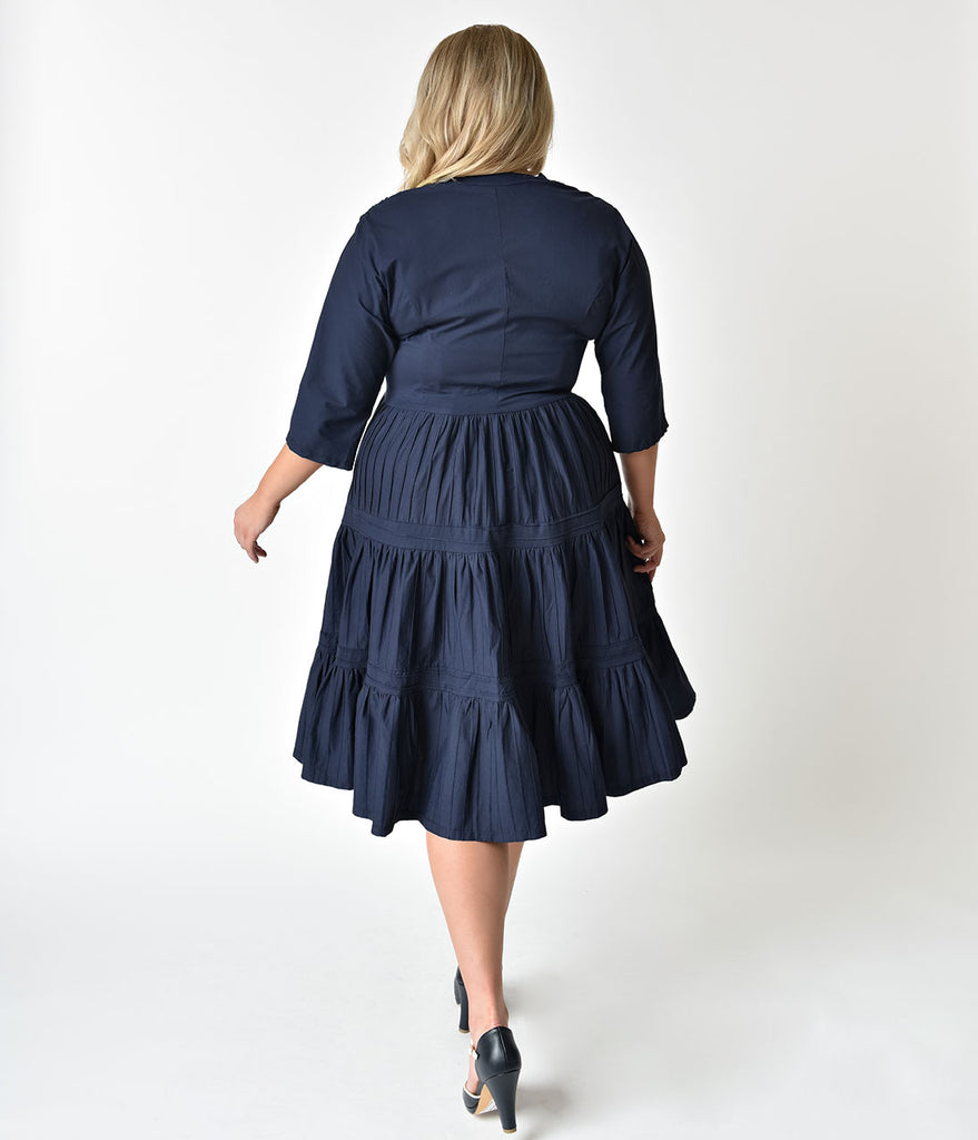 Unique Vintage Plus Size 1940s Style Navy Blue Half Sleeve Holt Swing Dress