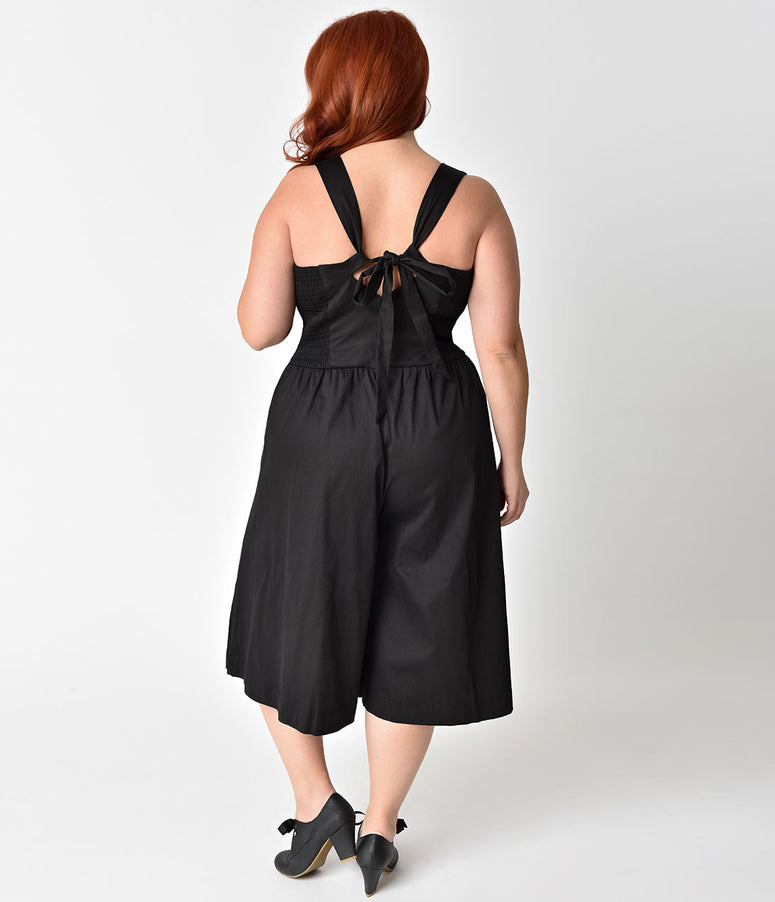 Unique Vintage Plus Size 1950s Style Black Wide Leg Promenade Jumpsuit