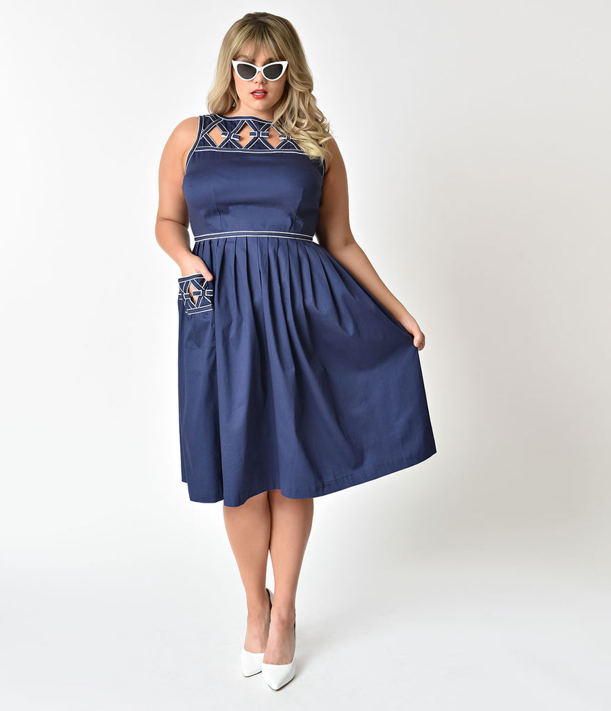 Unique Vintage Plus Size 1940s Style Navy Blue Nautical Weave Lakewood Dress